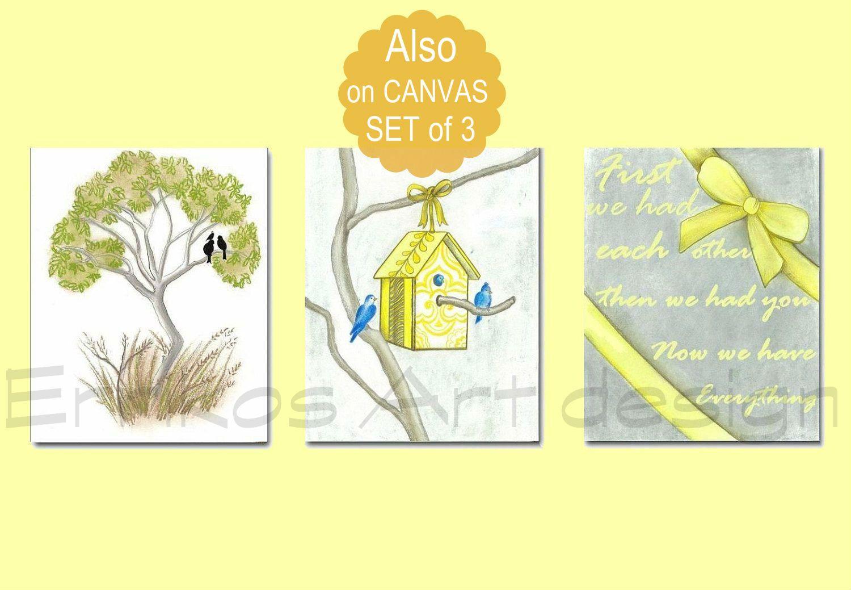 Birds Family Nursery wall art, Yellow, Baby Nursery decor, First we ...