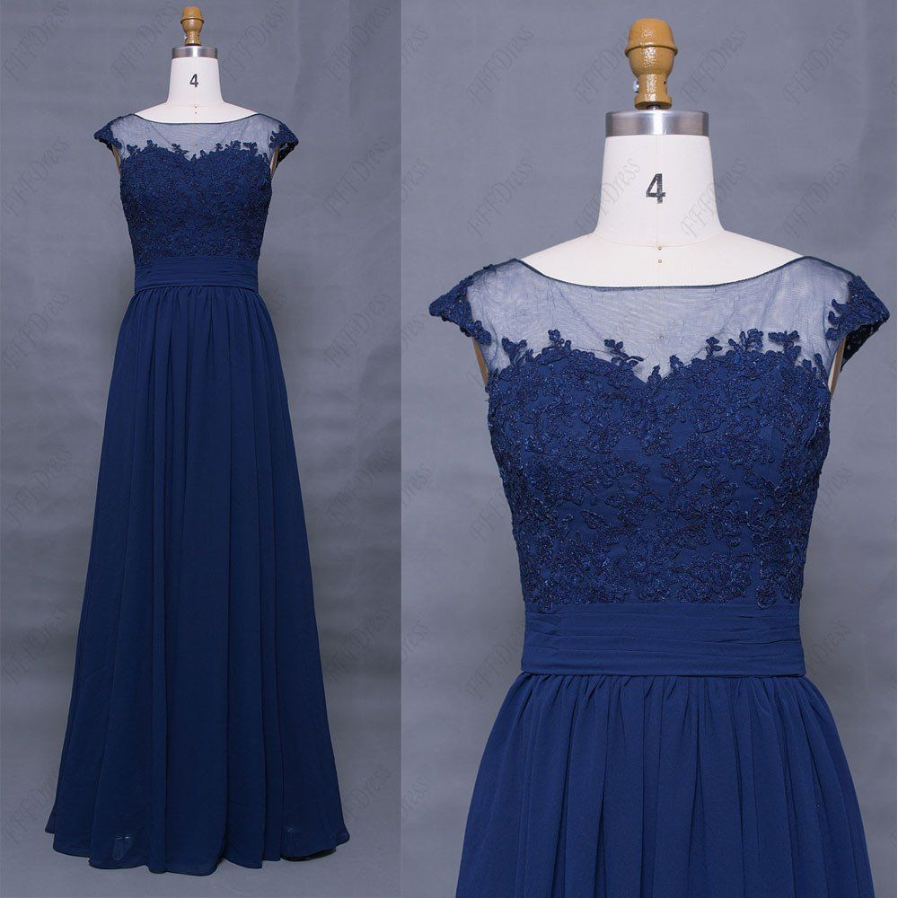 Lace modest navy blue prom dress cap sleeves long my looks