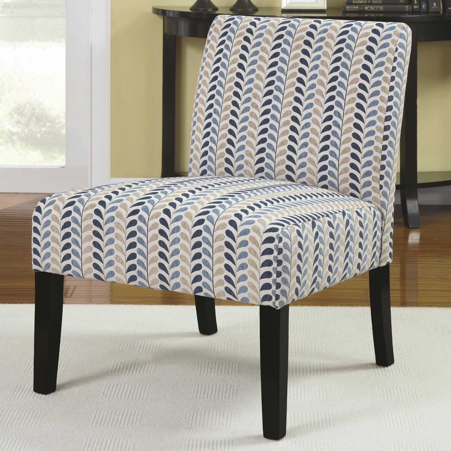 Amazon.com   Coaster Home Furnishings 902059 Contemporary Leaf Armless  Accent Chair, Blue And