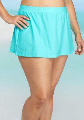 c86eeb23b8 Beach Diva Women's Plus Size Solid Skirtini Swim Bottoms - Aqua - 20W