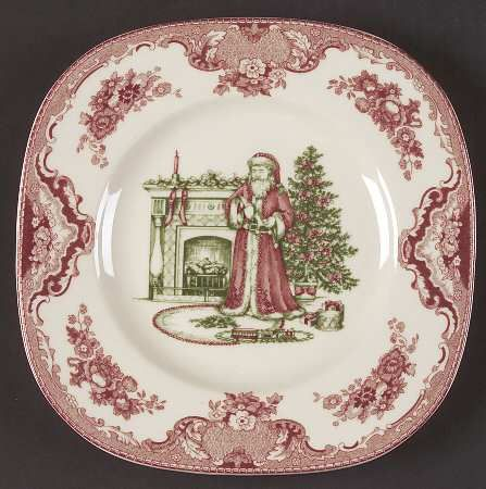 Johnson Bros Old Britain Castles Christmas Santa Plate & Your Favorite Brands Cookies for Santa Square Accent Salad Plate ...