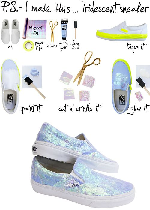 ps-imadethis: Dear fashion, lately we've been noticing a special glow about you, and P.S.- we love it. Fromiridescent Dior frockstoBurberry's shimmering trench coats, Spring style is getting its gleam on. Slip into your own shine with this sneaky DIYthat cranks up the wattage on a simple pair of kicks. To create: Cover the rubber rim and tag of thesneakerwithpaper tape. Next, use afoam brushtocoat the shoe with a thin layer ofacry
