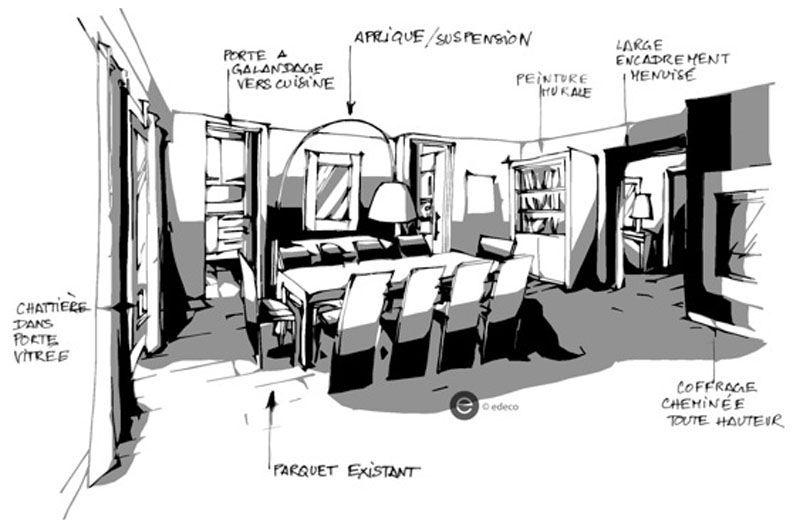 croquis architecture int rieure salon dominique jean. Black Bedroom Furniture Sets. Home Design Ideas