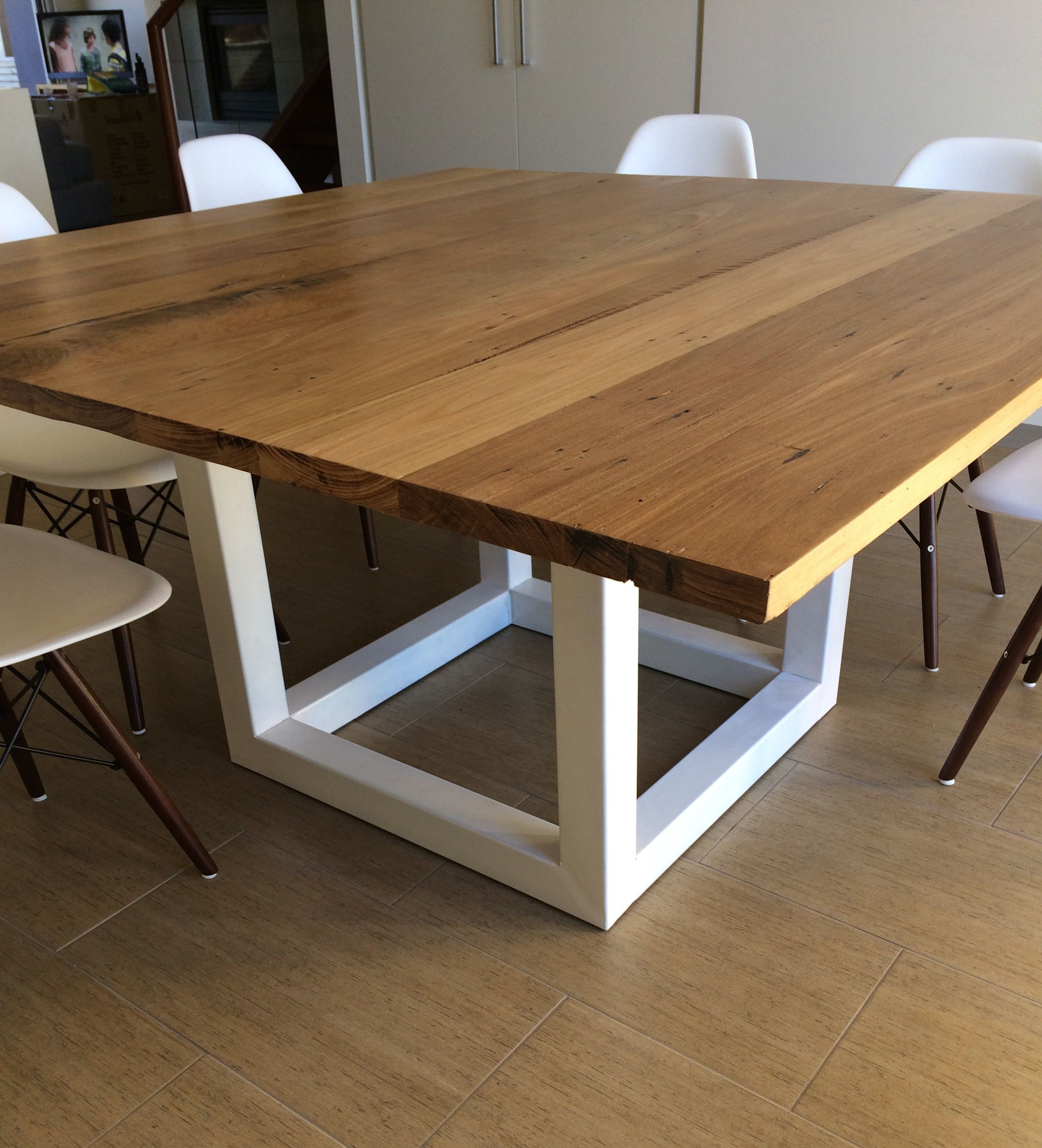 Recycled Messmate Timber Square Dining Table With White Metal Legs
