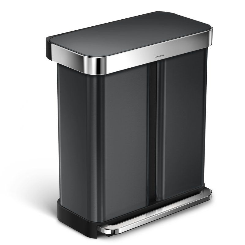 15 Gallon Dual Compartment Rectangular Step Trash Can with ...