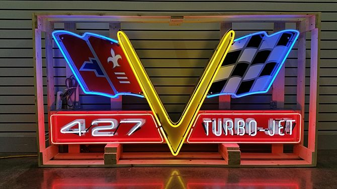 Chevrolet 427 Turbo Jet Neon Sign Sstn 72x38x9 Presented As Lot K31 At Dallas Tx 2015 Image1 Neon Signs