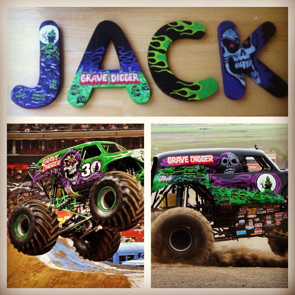 Grave Digger Letter Painting With Images Monster Truck Bedroom