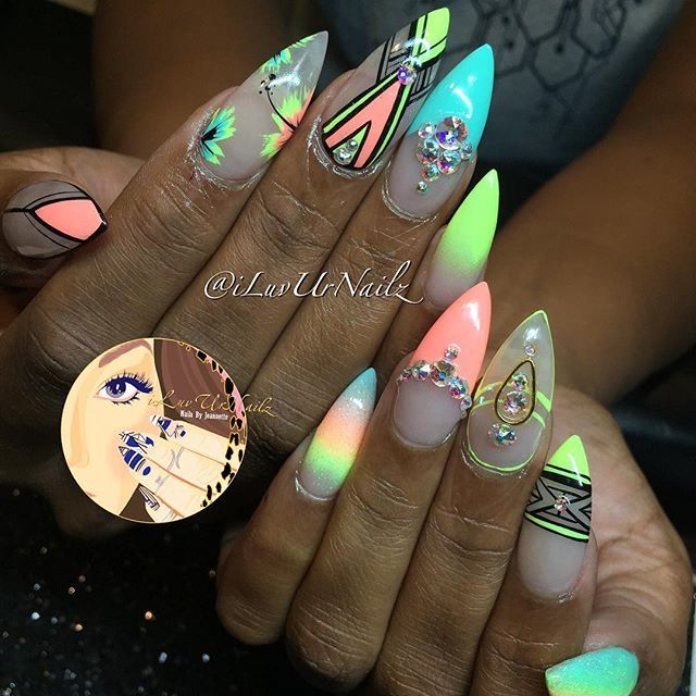 """""""Vacation Nails- Neon Yellow, Coral & Turquoise With Black"""" Photo taken by @iluvurnailz"""