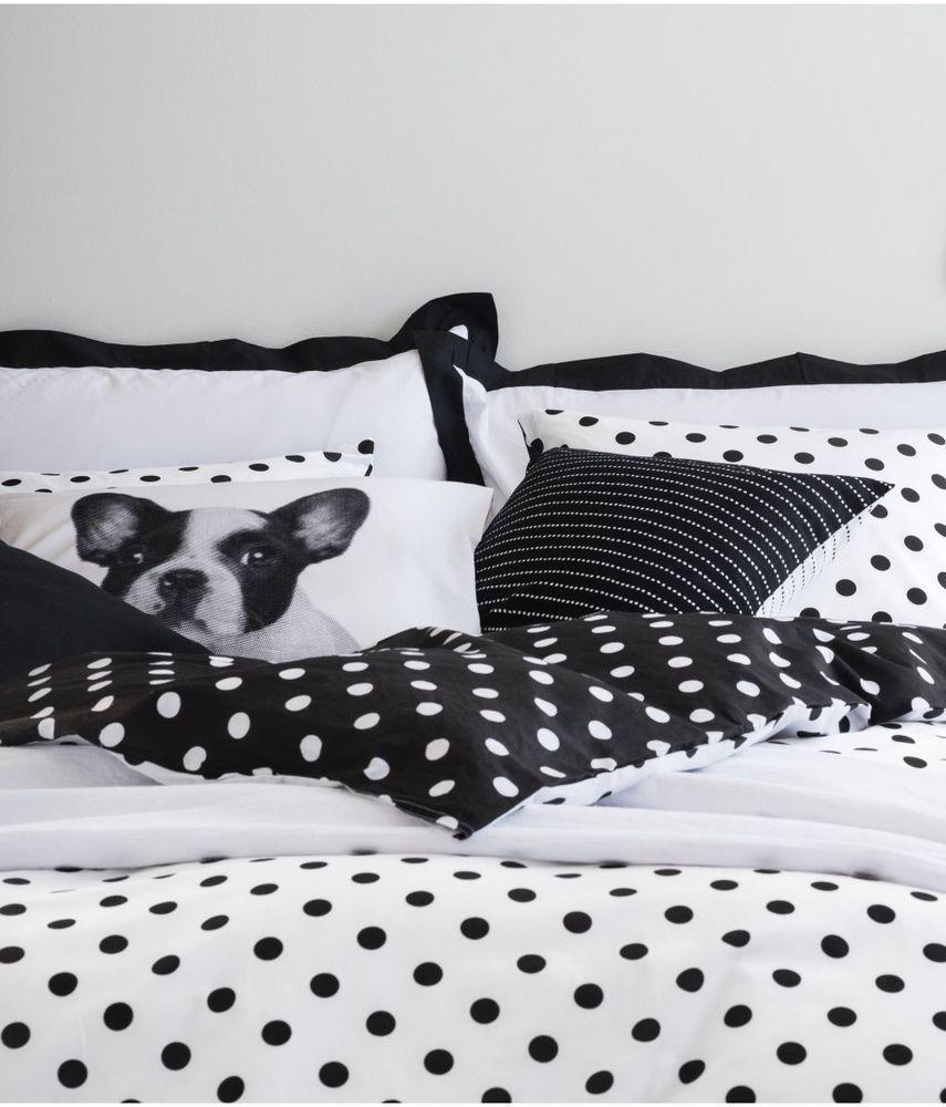 Black And White Polka Dot Twin Duvet Cover Pillow Sham 100% Cotton Girls  Bedroom