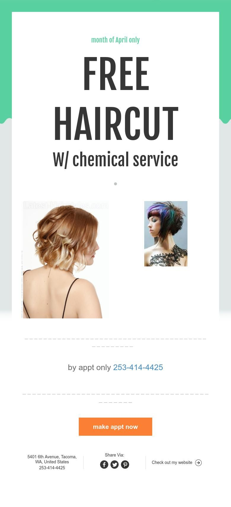 Month Of April Only Free Haircut W Chemical Service Web Page