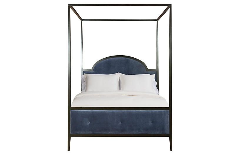 John Canopy Bed, Navy Velvet - Beds - Bedroom - Furniture One