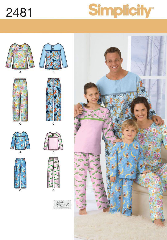 Simplicity 2481 Adult/Teen/Child Sleepwear | Selbst genäht und Nähen