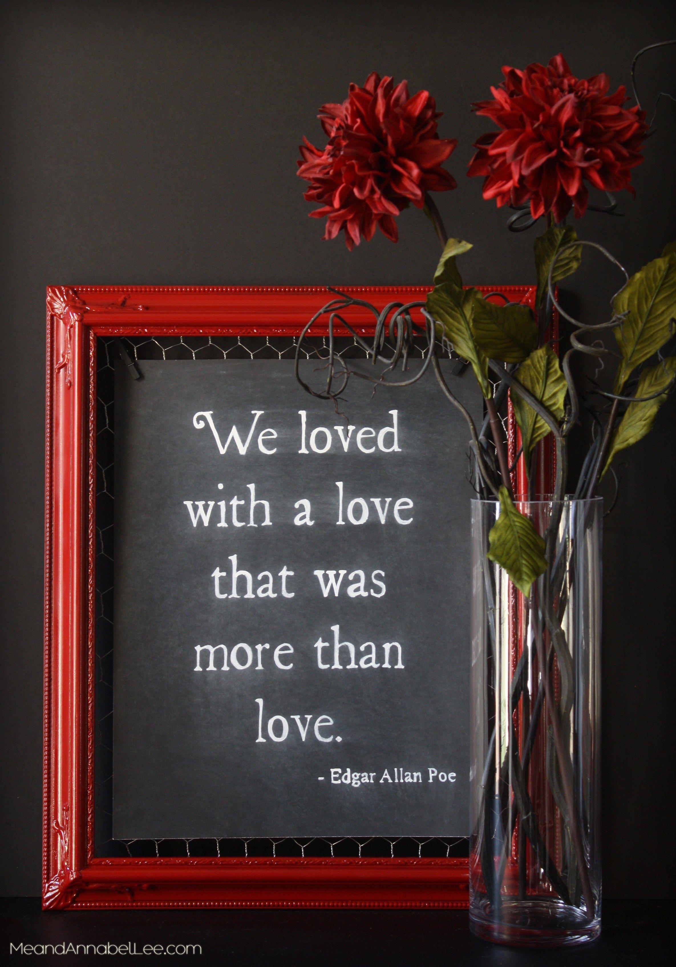Dark Romance DIY Chalkboard Art - Annabel Lee Quote by Edgar Allan ...