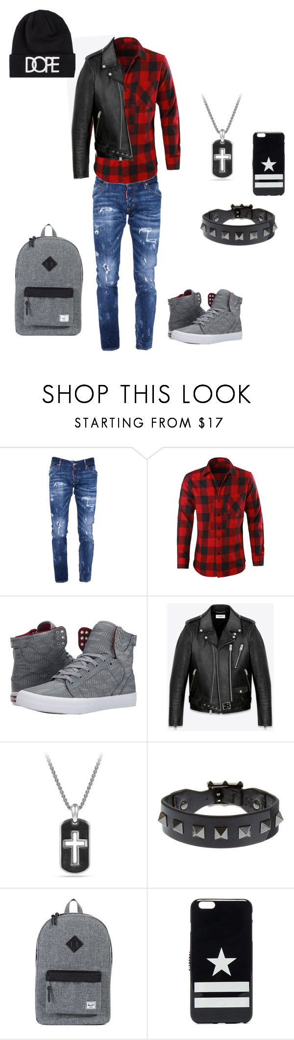 """Hotmen"" by remixshan ❤ liked on Polyvore featuring Dsquared2, Supra, Yves Saint Laurent, David Yurman, Valentino, Herschel Supply Co., Givenchy and Dope"