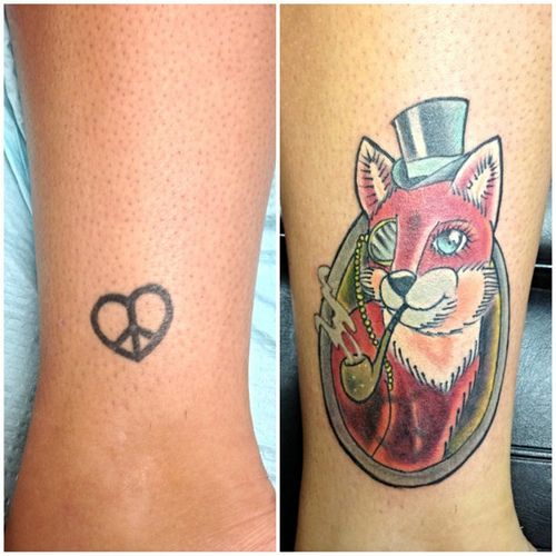 #before and #after #firstpass #monacle #fox #tophat #coverup #tattoo #eastprovtattoo #jesustattooedme