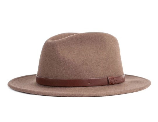 361f717a7ffdb7 Wide flat brim fedora with a vegan leather band. Style #: 415-00136-0609  Material: Felt Color: Camel To pick your appropriate hat size, measure  around your ...