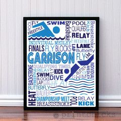 Boys Swimming Print - Custom Swimming  Poster - Boys Swimming  Team Gift - Personalized Sport Typography - Swimming