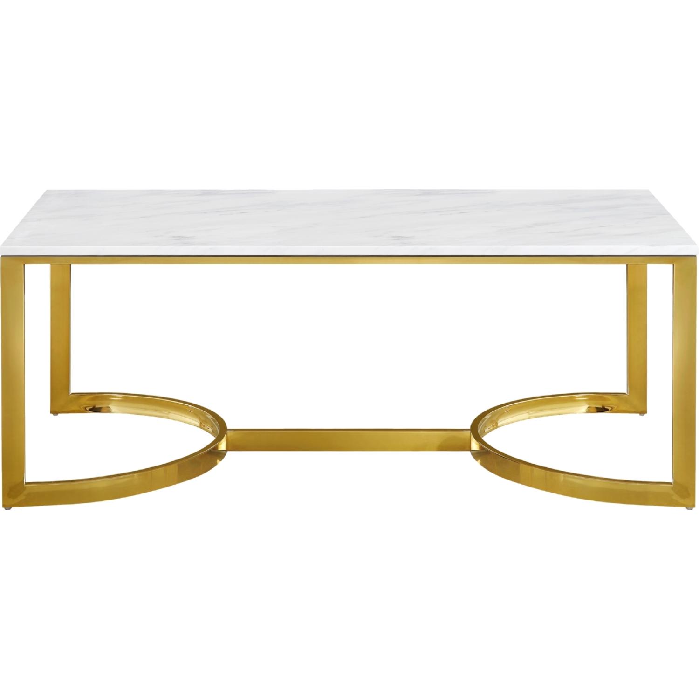 Meridian Furniture 217 C London Gold Stainless Steel Coffee Table Marble Top Stainless Steel Coffee Table Marble Top Coffee Table Steel Coffee Table [ 1500 x 1500 Pixel ]