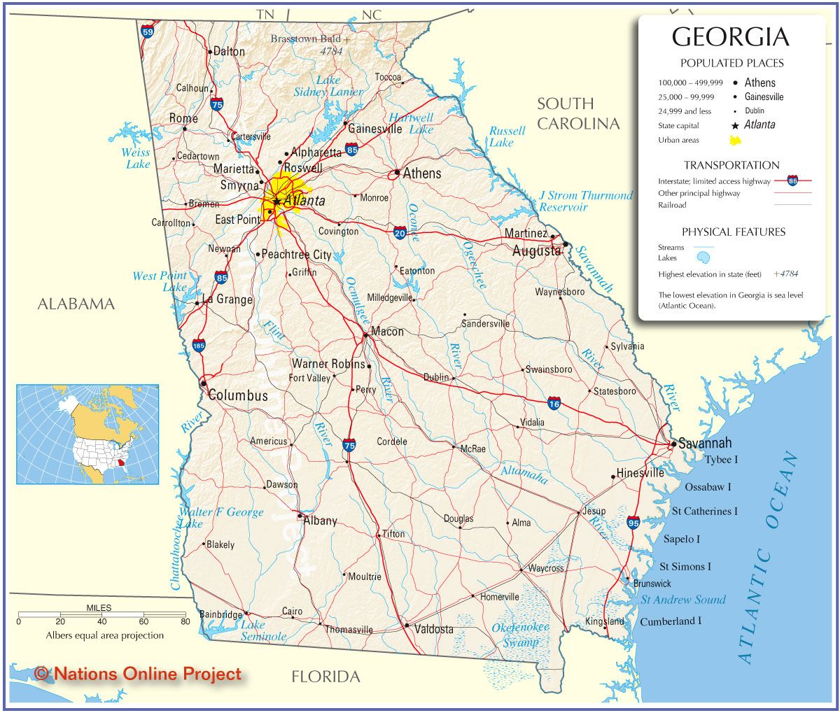 Reference Map Of Georgia State Usa Nations Online Project Map