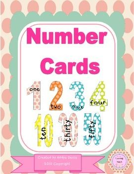 Set of colorful number cards/posters 0-20 and 30-100 with the ...