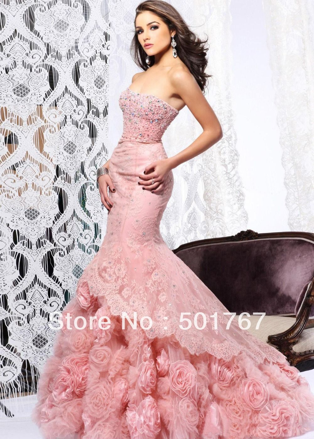 2014 Latest Designs Luxury Pink Mermaid Strapless Crystals Rose Flowers Organza Lace Wedding Dresses China MN1044