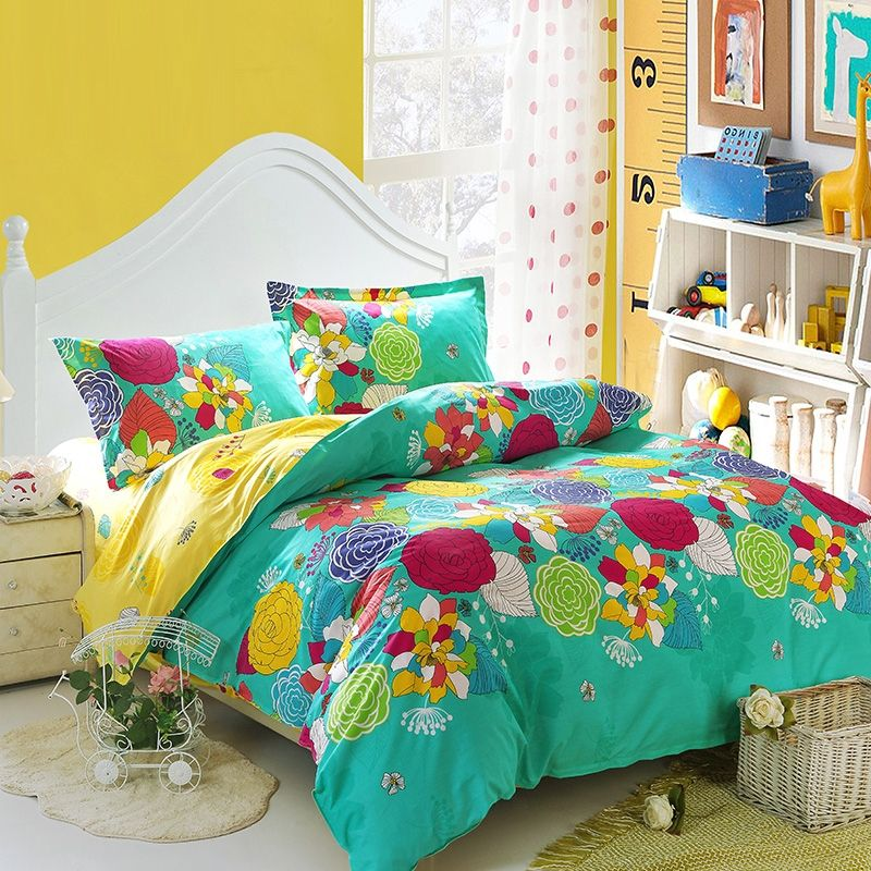 Turquoise Yellow And Red Bright Colorful Nature Floral Garden Vintage Oriental Style 100 Cotton Full S Bright Bedding Sets Bright Bedding Queen Comforter Sets