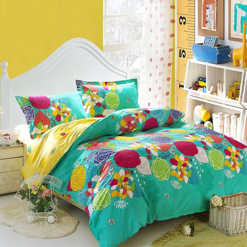 Aliexpress Com Buy Designer Bedding Set 4pcs Bohemia National Duvet Doona Cover Set Teal Bright Bedroom Decor Bright Bedding Sets Colourful Living Room Decor