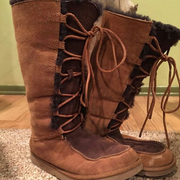 Shearling UGG Tall Lace-Up Boots