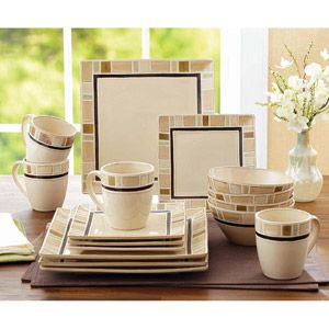 Better Homes And Gardens Cream Mosaic 16 Piece Square Dinnerware Set For The Home Pinterest