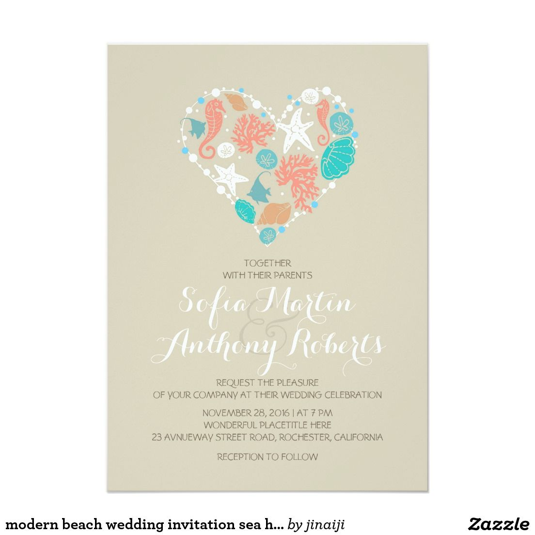 Modern beach wedding invitation sea heart | Beach wedding ...