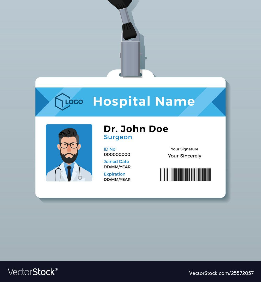 Doctor Id Card Template Medical Identity Badge With Doctor Id Card Template Cumed Org Kartu Nama Kartu Pas Foto