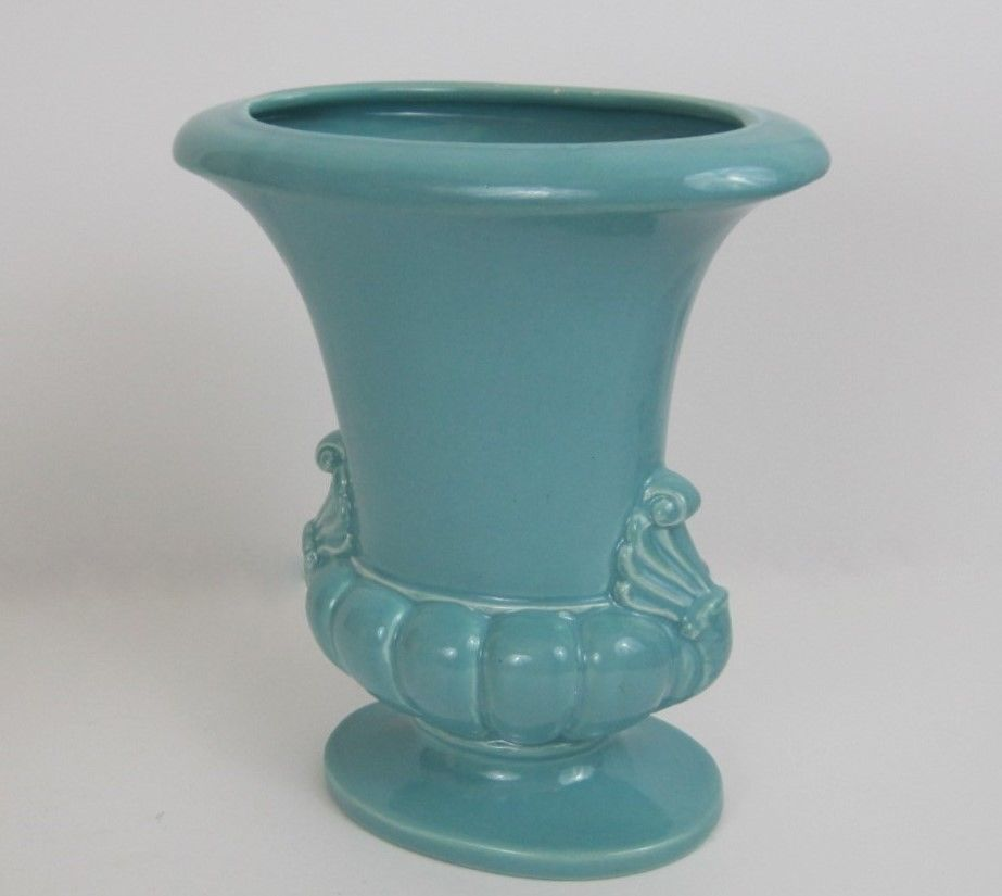 "Haeger Blue Oblong Vase -Urn Style. Base is 6-1/4"" wide. Beautiful blue gloss glaze. 