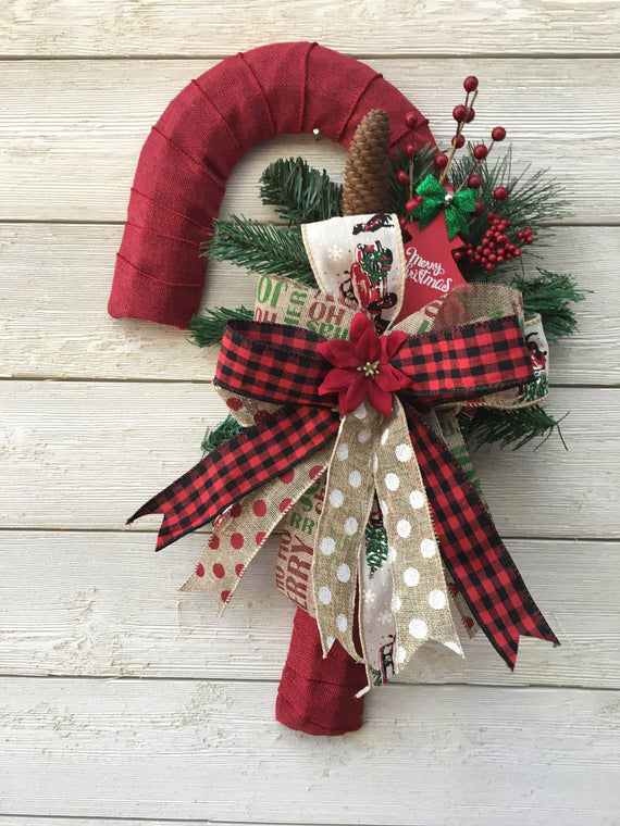 This Is A Beautiful Farmhouse Christmas Candy Cane Door Hanger Perfect To Add To Your Christ Christmas Door Decorations Christmas Decorations Christmas Wreaths