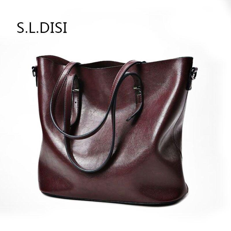 a66bebc99140f1 2018 fashion Women Genuine Leather Handbag vintage elegant hand bag large  capacity Western style Business totes bolso mujer - SearchDiscountCode ...