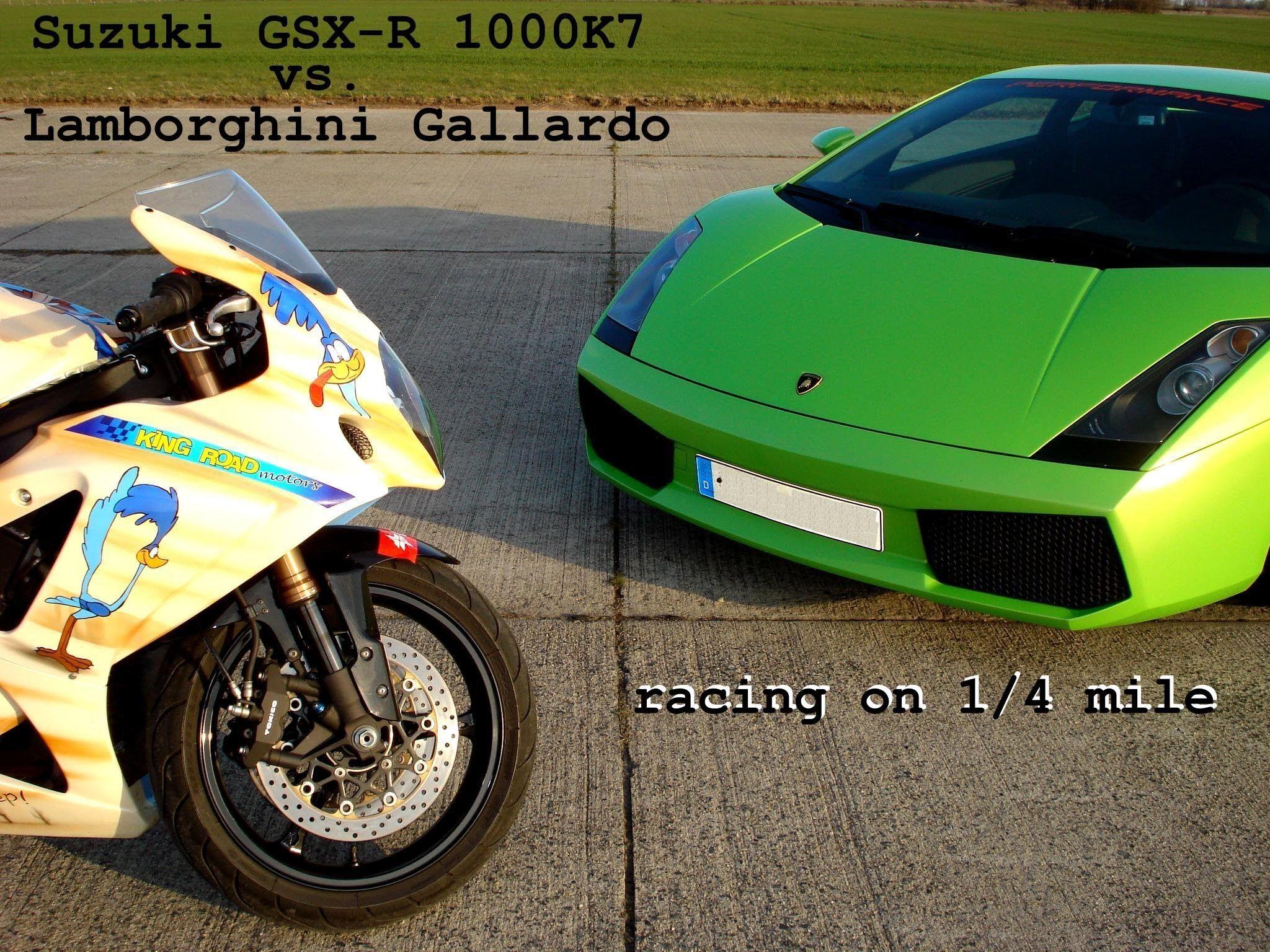 Lamborghini Gallardo Vs Suzuki Gsx R 1000 K7 Racing From 200kmh