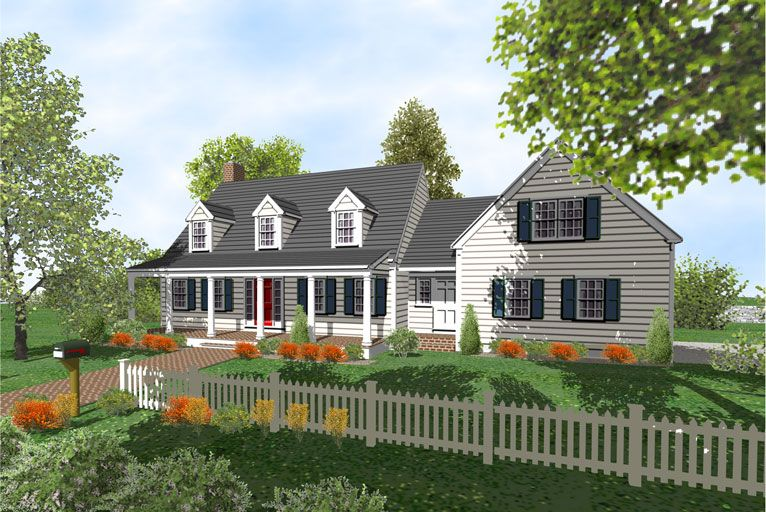 Cape Cod House Design Ideas Part - 38: Cape Cod Houses With Three Car Garages | Cape Cod 2 Story Home Plans For  Sale
