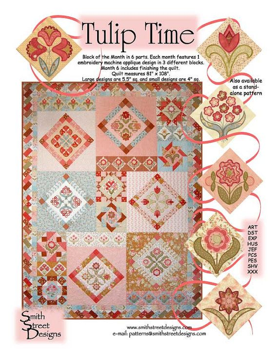 Tulip Time Machine Embroidery Quilt Pattern By Smith Street Designs
