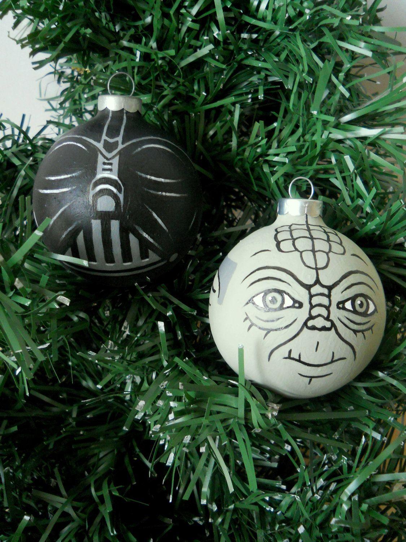 Star Wars Yoda And Darth Vader Painted Holiday Christmas Ornament Set 30 00 Via Etsy Star Wars Christmas Ornaments Geek Christmas Decorations Geek Christmas