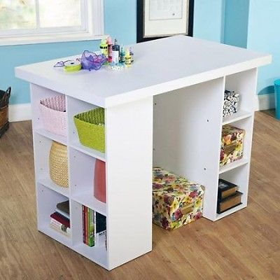 White-Counter-Height-Craft-Work-Table-Storage-Organizer-Sewing-Station-Shelves