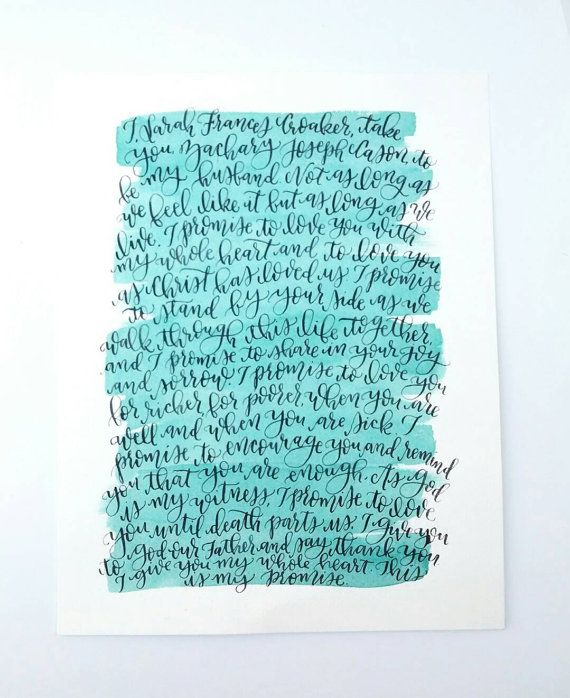 Watercolor Wedding Vows Handlettered Calligraphy Vows