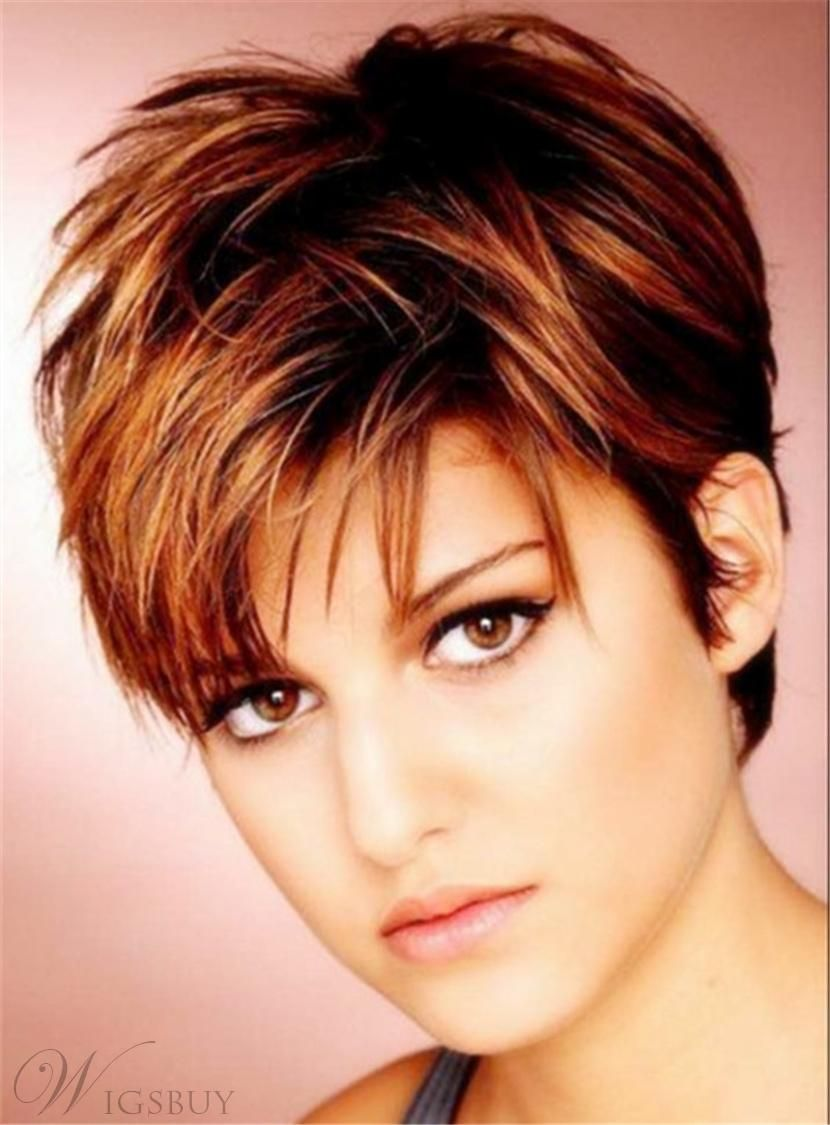Silky Layered Natural Brown Pixie Straight Human Hair Lace