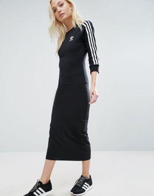 55380167f7 Adidas Originals black three stripe midi dress in 2019