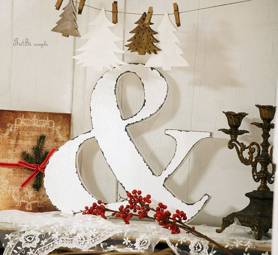 White Ampersand sign 12  home decoration photo prop by ToBicouple