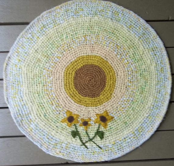 Xl Rag Rug: Crocheted Rag Rug Sunflower Rag Rug By