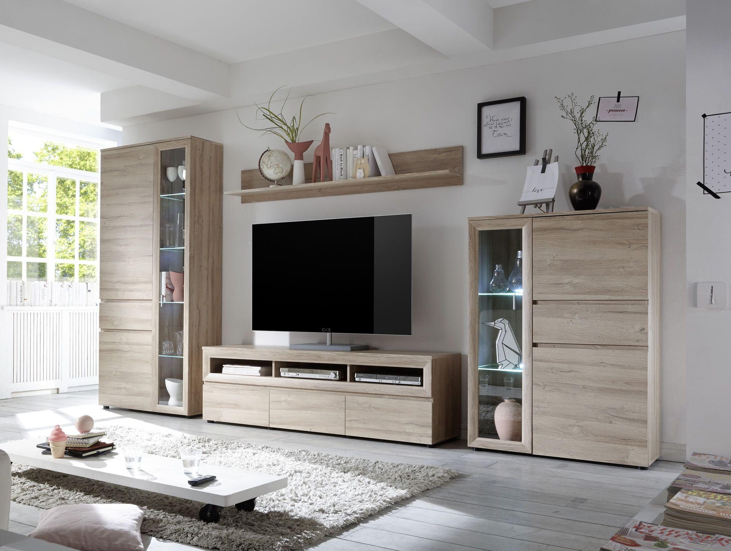 wohnwand eiche grandson oak mit led beleuchtung woody 61-00190, Wohnzimmer dekoo