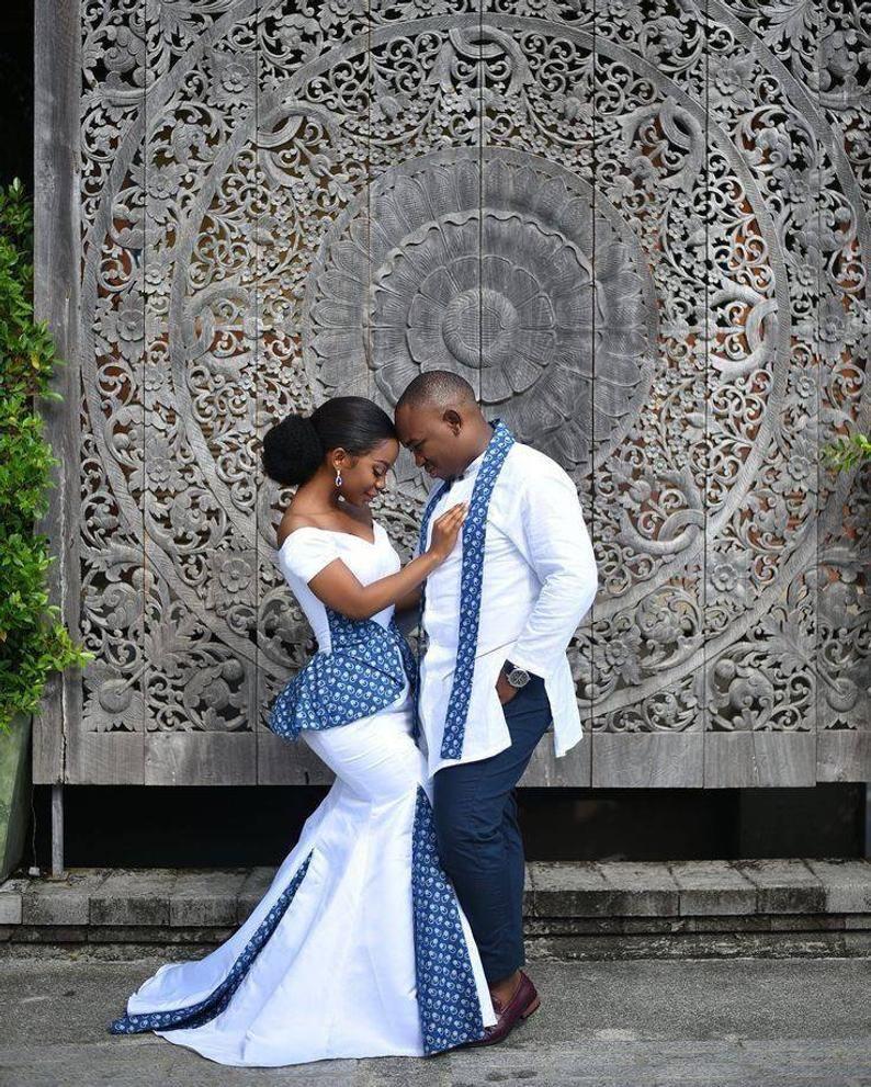 Couple in xhosa and zulu traditional wedding