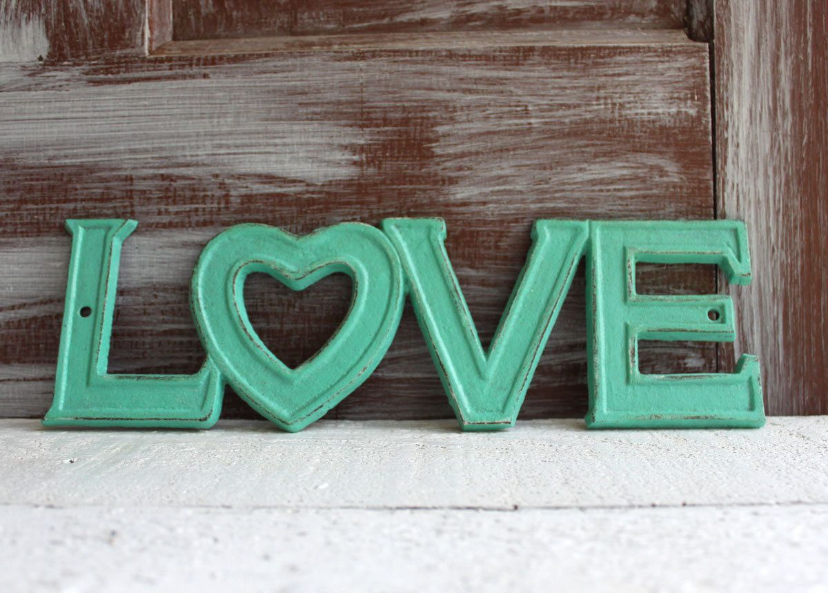 Love Sign / Aqua Turquoise / Cast Iron / Teen room decor / Nursery Decor / Cottage chic wall decor / Rustic Love Sign by LoweryDesigns on Etsy https://www.etsy.com/listing/202251868/love-sign-aqua-turquoise-cast-iron-teen