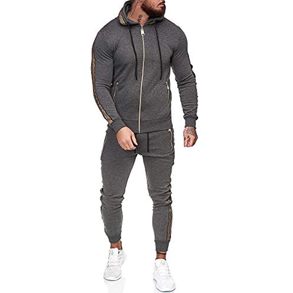 Sportanzug Jogginganzug Jogging Zip Hoodie Hose Stripe Fitness Jogger Herren