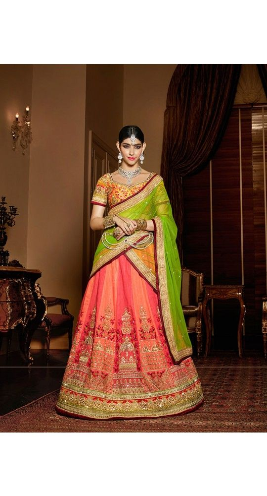 4cf712902d Pink N Orange Colored Raw Silk Embroidered Semi Stitched Lehenga Choli for  Wedding , Reception, Traditional Function