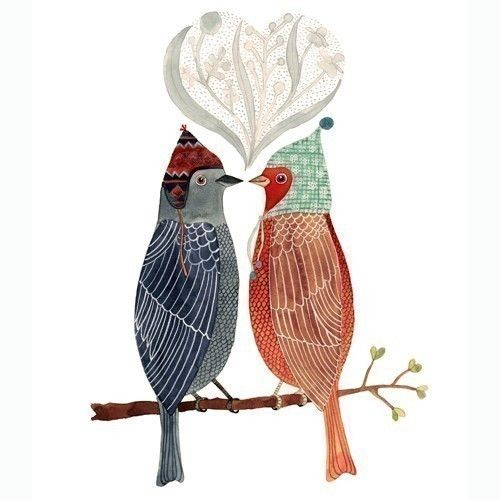 """Lovebirds.""  Archival quality print of a watercolor by Geninne D Zlatkis of Queretaro, Mexico. 6"" x 8"""